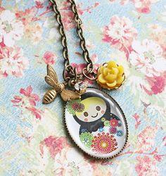 Spring Matryoshka Russian Doll Necklace Spring by rosesandlemons,