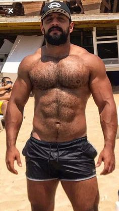 Bearded Hunk Rides Muscular Studs Cock