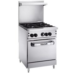 "Vulcan 24S-4B Endurance Natural Gas 4 Burner 24"" Range with Standard Oven Base - 143,000 BTU"