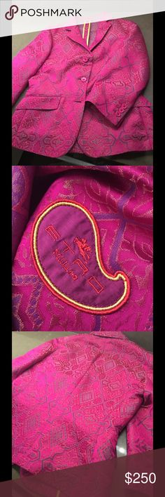 Etro Hot Pink and Paisley Blazer Fantastic hot pink and paisley Etro silk blazer. It's Etro. It's hot pink. All other items for sale in my closet, too, including these adorable Bottega heels!!! Etro Jackets & Coats