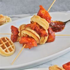 Korean fried chicken and waffle skewers