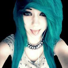 Blue hair emo girl