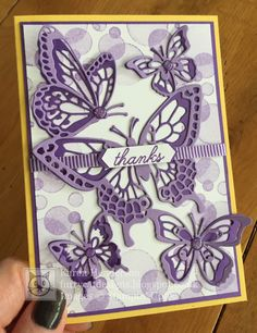 Furry Cat Designs – Karen Henderson – independent UK Stampin' Up! demonstrat… Furry Cat Designs – Karen Henderson – independent UK Stampin' Up! demonstrator: Butterfly Beauty thanks Cricut Birthday Cards, Butterfly Birthday Cards, Butterfly Cards, Flower Cards, Purple Cards, Bee Cards, Hand Stamped Cards, Karen, Stamping Up Cards