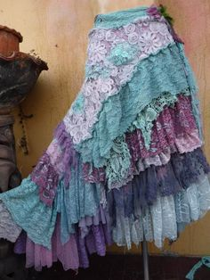 wedding bohemian boho gypsy lagenlook OAK shabby mermaid wrap across plus ties. Boho Gypsy, Bohemian Skirt, Gypsy Skirt, Boho Skirts, Gypsy Style, Bohemian Style, Boho Chic, Shabby Chic, Hippie Chic
