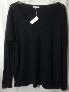 NWT JAMES PERSE Sheer Long Sleeve Tee T-Shirt Top Crew  Sz 3/L BLACK $135 #JamesPerse #KnitTop