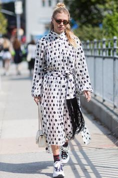 Curious about how to wear polka dots right now? We're here to offer some inspiration. Street style, street fashion, best street style, OOTD, OOTD Inspo, street style stalking, outfit ideas, what to wear now, Fashion Bloggers, Style, Seasonal Style, Outfit Inspiration, Trends, Looks, Outfits.