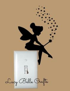 Tinkerbell Sitting on a Light Switch Decal w/ by LucyBelleCrafts