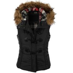 LE3NO Womens Classic Toggle Padded Puffer Jacket Vest with Faux Fur... ❤ liked on Polyvore featuring outerwear, vests, cinch vest, padded vest, hooded vest, waist cincher vest and puff vest