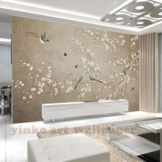 Wallpaper Mural Tricks: How to Choose and Install Wallpaper Wall, Chinoiserie Wallpaper, Photo Wallpaper, Wallpaper Store, Large Wall Murals, Cleaning Walls, Decoration Design, Cherry Tree, Wall Stickers