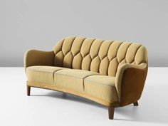 Danish Curved Sofa in Yellow and Brown Velours 2