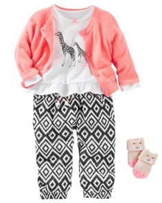 She's set for safari with soft ikat print pants and sweet little giraffes. Keep her warm in a neon cardi and character socks, too!