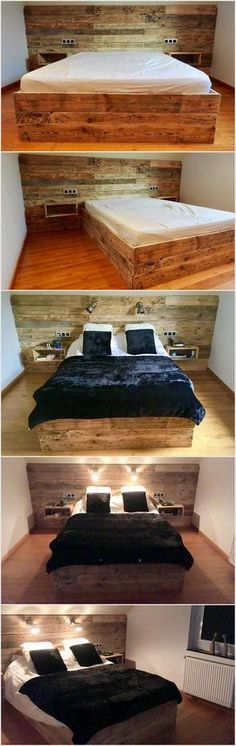 Pallet Bed with Headboard and Lights #rusticfurniturebedroom