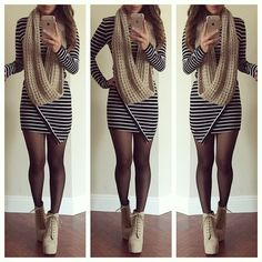 Black Long Sleeve Slim Striped Bodycon Dress