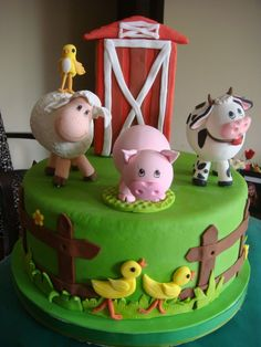 Torta de animales de la granja | cumple constan | Pinterest Farm Animal Cakes, Farm Animal Party, Barnyard Party, Farm Party, Farm Birthday, Animal Birthday, Farm Cake, Cupcake Cookies, Kids Meals