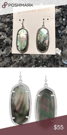 🆕Kendra Scott 'Elle' Silver Earring Authentic, New Never worn Earrings with Black Mother Pearl stones. No two are exactly alike due to their natural beauty. Without  pouch or box. Sticker tag on card back not totally present. Kendra Scott Jewelry Earrings