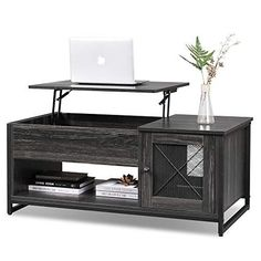 Industrial Lift Top Coffee Table with Hidden Compartment All Glass Coffee Table, White Round Coffee Table, Coffee Table Desk, Wicker Coffee Table, Coffee Table With Drawers, Walnut Coffee Table, Lift Top Coffee Table, Cool Coffee Tables, Round Sofa