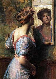"impressionism-art: "" A Passing Glance 1900 Thomas Pollock Anshutz "" Mary Cassatt, American Realism, American Artists, Albrecht Durer, Mirror Art, Mirror Image, Albert Bierstadt, Rembrandt, Frames"