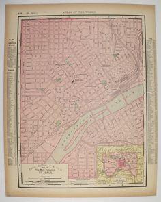 Vintage Map Montana North Dakota Map Western US State Map - 1896 map of us