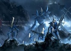 The eldar ranger Illic Nightspear is the main focus in this striking print. In this scene he scouts the treacherous canyons of Carnac while his team of imposing wraithknights and wraithguards stand at the ready.