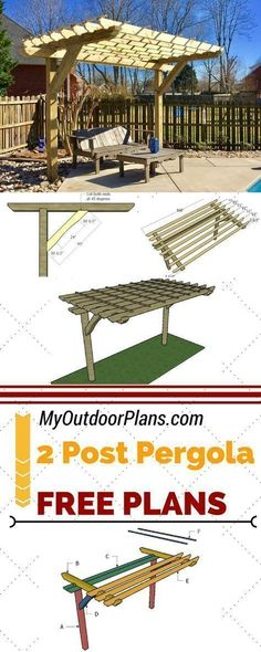 Learn how to build a cool 2 post pergola for your backyard or patio. Follow my step by step instructions and plans for a 2 post pergola to save money and add value to your home at MyOutdoorPlans.com #diy #pergola #pergolaplansfree #pergolakitsdiy