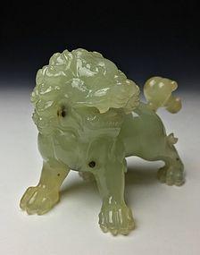 Antique Chinese Carved Celadon Jade Lion