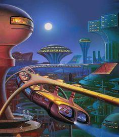 The Year& Best Science Fiction Fourth Annual by Alan Gutierrez Futuristic City, Futuristic Design, Futuristic Architecture, Architecture Design, Retro Kunst, Retro Art, Steampunk, Affiche Star Trek, Cyberpunk