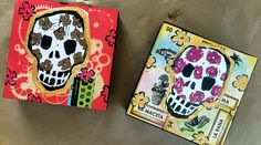 FREE Day of the Dead Art Tutorial - dia de lost muertos mini skull paintings, a tutorial with Kellie Day, I'll take you from skulls stamps to making mixed media mini paintings on wood panels! Mixed Media Painting, Painting Tips, Mixed Media Art, Painting On Wood, Day Of The Dead Art, Mixed Media Techniques, Handmade Stamps, Skull Painting, Free Day