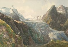 Thomas Ender | Grossglockner with Pasterze Glacier | 1832 | Private collection, Collection Archduke Johann #VienneseWatercolor Archduke, Under Construction, Vintage Travel, Austria, Maine, Watercolor, Mountains, History, Painting