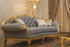 BLOSSOM 3 seater sofa  Covering as seen: Fabric art. Paradise Cannettè col. Blu Marine cat. Maxi. Optional scatter cushions. Finishing: Cod. 250 - Gold leaf antiqued. www.mantellassi.com