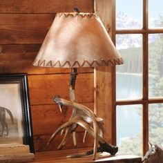 Antler Table Lamp with Faux Leather Shade | Kirkland's
