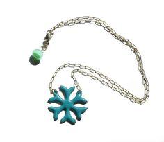 Sapphire Blue Snowflake  Necklace Vitreous Enamel by PrayerMonkey on Etsy