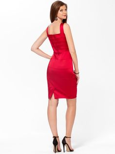 NWT Cache SEXY Red or Black Thick SATIN Stretch Evening Dress  4  6 12 ( S M L ) #CACHE #StretchBodycon #Cocktail