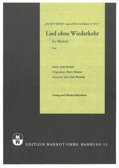 SYLVIE VARTAN - JEAN RENARD - LIED OHNE WIEDERKEHR - LA MARITZA - ORIG MUSIKNOTE