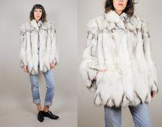 Chevron vtg bianco cappottino di pelliccia di di NOIROHIOVINTAGE