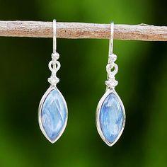 Rhodium plated kyanite dangle earrings, 'Knowing Eyes' - Rhodium Plated Kyanite and Sterling Silver Dangle Earrings