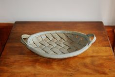 #Vintage #Parmentier Woven #Stoneware Basket, Ceramic Basketweave Studio Art Pottery Bowl, Woven Clay Serving Tray Centerpiece Bread Basket - SOLD! :)