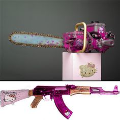 hello kitty gun and chainsaw! Hello Kitty Gun, Kitty Kitty, Lollipop Chainsaw, Armas Ninja, Cool Guns, Zombie Apocalypse, Pastel Goth, Weapons, Photos