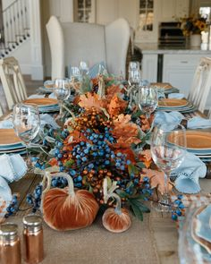 Come and see this Fall Blue and Orange Pumpkin Themed Tablescape. The blue and orange colors are not traditional fall colors but beautiful all the same. Fall Table, Thanksgiving Table, Thanksgiving Decorations, Seasonal Decor, Fall Decorations, Blue Fall Decor, Orange Plates, Blue Pumpkin, Pumpkin Wedding