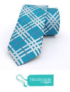 "Turquoise blue and grey striped, plaid men's tie 6 cm (2,36"") DK-378 from Nazo… #handmadeatamazon #nazodesign"