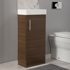 Brown Bathroom Furniture Vanities Veritymagcom Wood Effect Bathroom Furniture Bathshack Northern Ireland Cloakroom Vanity Unit, Vanity Units, Vanity Bathroom, Brown Bathroom Furniture, Small Bathroom, Bathrooms, Clutter, Space Saving, Basin