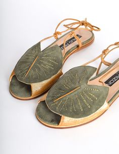 Maud Frizon Vintage Gold Leather & Green Suede Lily Pad Sandals