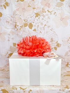 Bright peach crepe flower with silver ribbon (Down and Out Chic)