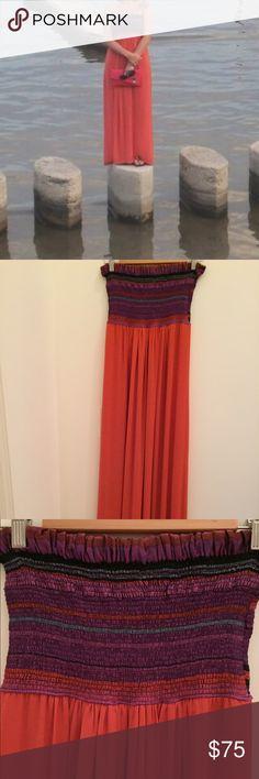 Maxi dress Custom made silk dress, beautiful salmon color, elastic top, unique. Not Zara Zara Dresses Maxi