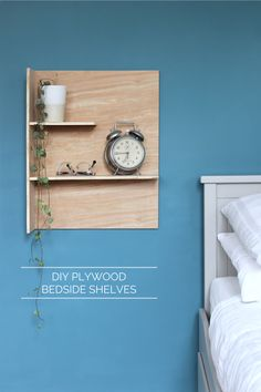 DIY plywood bedside shelves | Growing Spaces
