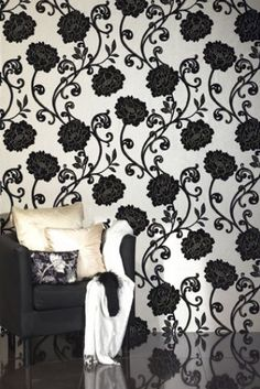 63 best beautiful walls images beautiful wall flock wallpaper wallpaper - Cream flock wallpaper ...