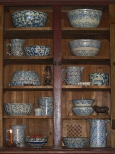 great Collection of Blue Spongeware Stoneware Antique Stoneware, Stoneware Crocks, Earthenware, Prim Decor, Country Decor, Glazes For Pottery, Ceramic Pottery, Southwestern Home Decor, Antique Pottery