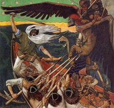 The Defense of the Sampo (Sammon puolustus) is a 1896 Romantic nationalist painting by Finnish painter Akseli Gallen-Kallela. The painting illustrates a passage from the Kalevala, the Finnish national epic compiled by Elias Lönnrot in the century. Runes Futhark, Goddess Of The Underworld, My Demons, Gods And Goddesses, Tempera, Held, Archetypes, Mythical Creatures, Folklore