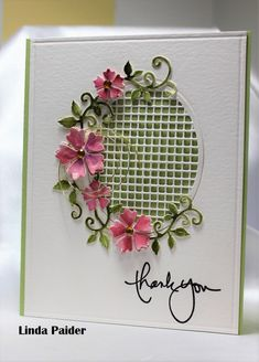Lattice thank-you by Holstein - Cards and Paper Crafts at Splitcoaststampers Pretty Cards, Cute Cards, Card Making Inspiration, Making Ideas, Spellbinders Cards, Cross Stitch Cards, Die Cut Cards, Flower Cards, Greeting Cards Handmade