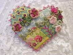 Victorian crazy quilt pin for your Valentine by GlosterQueen, very pretty Crazy Quilting, Crazy Quilt Stitches, Crazy Quilt Blocks, Silk Ribbon Embroidery, Embroidery Stitches, Hand Embroidery, Embroidered Silk, Embroidery Ideas, Cuadros Diy