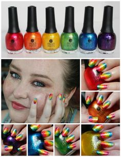 Finger Paints Nail Polish Poolside Paradise Summer 2014 Rainbow Nail Art with Ombre/Gradient designs from Stephanie Louise- All Things Beautiful #nails #nailart